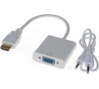 Переходник MINI HDMIi VGA со звуком, белый