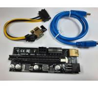 Райзер PCI-E 1x to 16x USB 3.0 riser Ver. 009S ,6 Pin-SATA, Molex BLACK