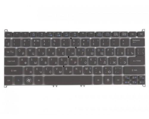 KB.I100A.228 клавиатура для ноутбука Acer Aspire S3, S3-391, S3-951, S5-391, Aspire V5-171, Aspire One B113, Aspire One 725, Aspire One 756, TravelMate B1, серая без рамки, гор. Enter